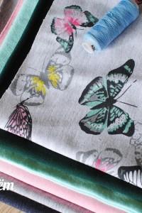 Футер 2-нитка петельный Бабочки на меланже