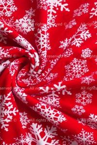 Футер 2-нитка петельный Снежинки на красном